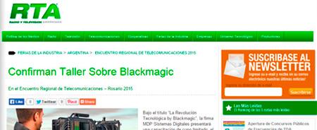 28/05/2015 - Confirman Taller Sobre Blackmagic