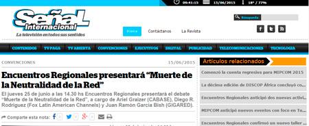 """15/06/2015 - Encuentros Regionales presentará """"Muerte de la Neutralidad de la Red"""""""