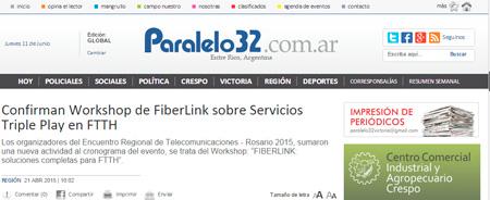 21/04/2015 - Confirman Workshop de FiberLink sobre Servicios Triple Play en FTTH