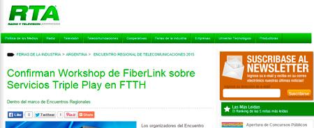 26/04/2015 - Confirman Workshop de FiberLink sobre Servicios Triple Play en FTTH