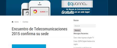 08/12/2014 - Encuentro de Telecomunicaciones 2015 confirma su sede